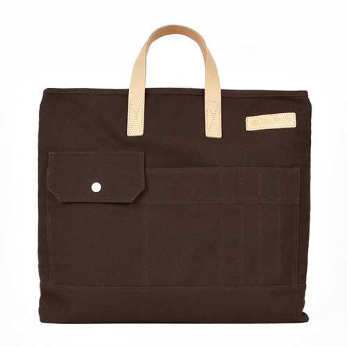 CANVAS TOTE&CROSS BAG BROWN