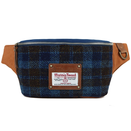 HARRIS TWEED WAIST BAG-BLUE