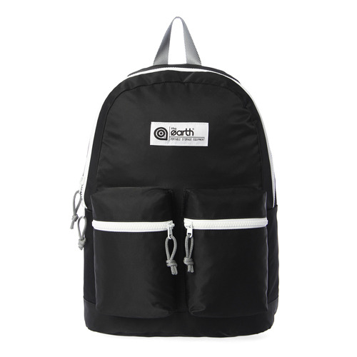 NYLON 2-POCKET BACKPACK - BLACK