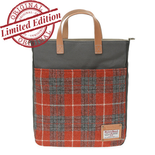 HARRIS TWEED TOTE&CROSS - ORANGE