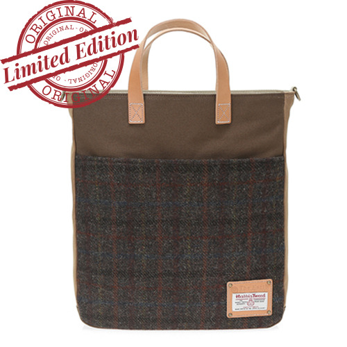 HARRIS TWEED TOTE&CROSS - D.BROWN