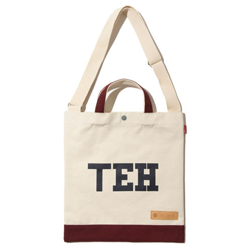 TEH CANVAS TOTE&CROSS BAG - BURGUNDY