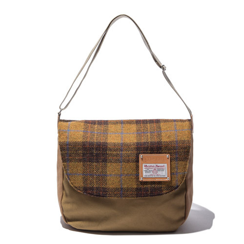 HARRIS TWEED CROSS BAG - MUSTARD