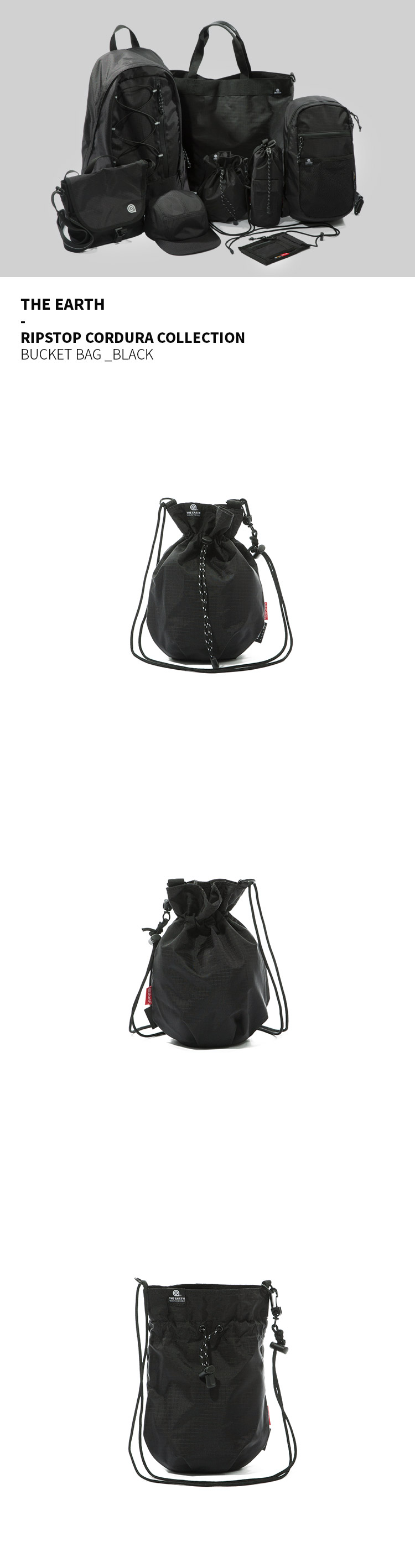 디얼스(THE EARTH) RIPSTOP CORDURA BUCKET BAG - BLACK